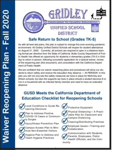 Cover of Waiver Plan for GUSD Elementary in COVID 2020